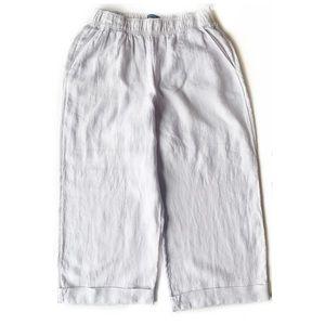 TAHARI Lagenlook 100% Linen Cropped Cuffed Pants L